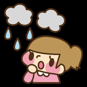 雨にがっかりする女性