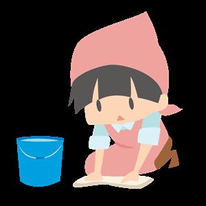 床拭きをする女性