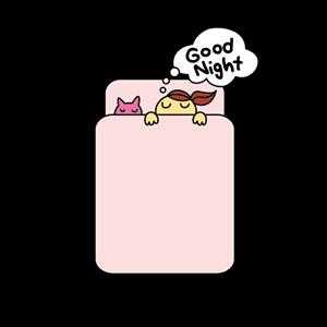 布団で寝る少女と猫