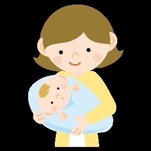 赤ちゃんを抱っこするお母さんイラスト