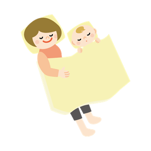 赤ちゃんと添い寝するお母さん