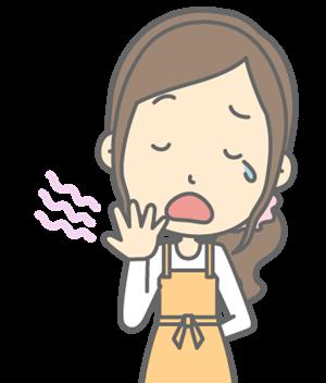 あくびをする主婦
