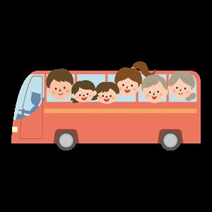 家族でバス旅行のイラスト