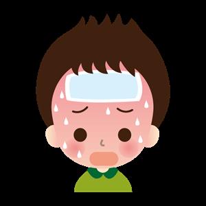 熱がでている男の子