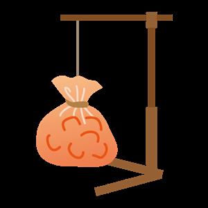 吊るすタイプの氷嚢 イラスト