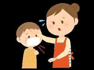 子供の熱を心配する母親
