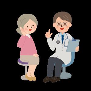 医師と高齢者のイラスト