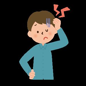 首が痛くて頭を悩ます男性