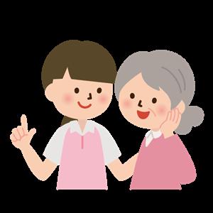 会話をするお年寄りと治療家