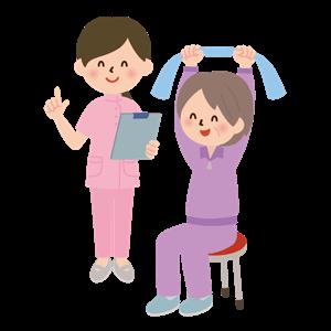 リハビリで体操をする女性