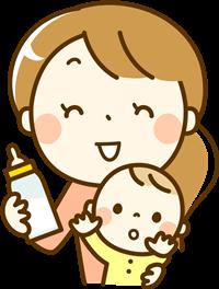 乳児と母親とミルク
