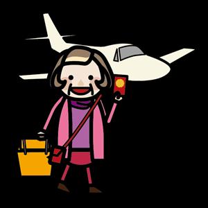 飛行機で旅行にでかけるおばあちゃん