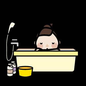 お風呂に入る女性 イラスト