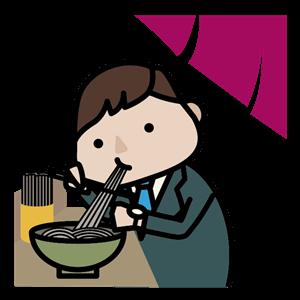 うどんを食べる男性