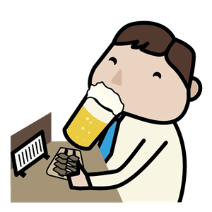 ビールを飲む男性