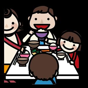 家族での食事イラスト