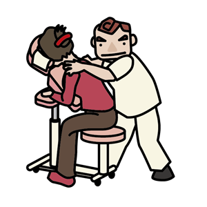 マッサージをする鍼灸師