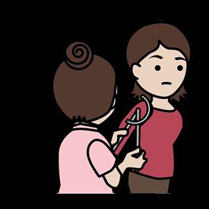 肩関節の角度を計る鍼灸師