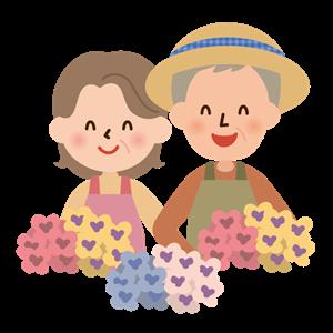お花の香りに癒やされる夫婦