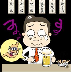 酒とタバコで胃の調子が悪い男性