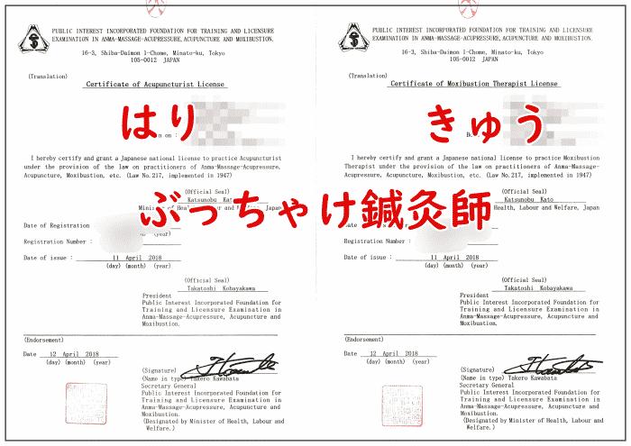 鍼灸師 英訳文証明書