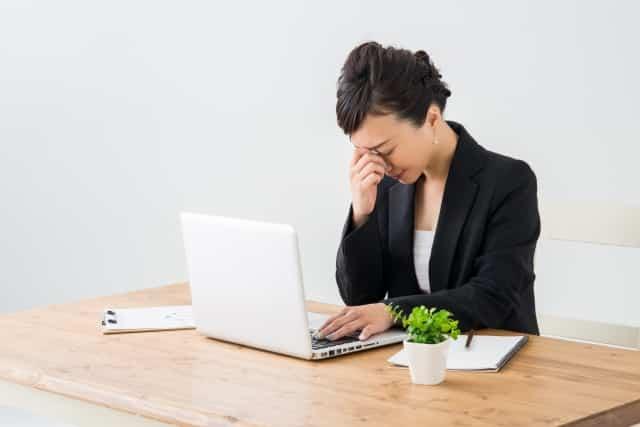 パソコンでの眼の疲れ 女性